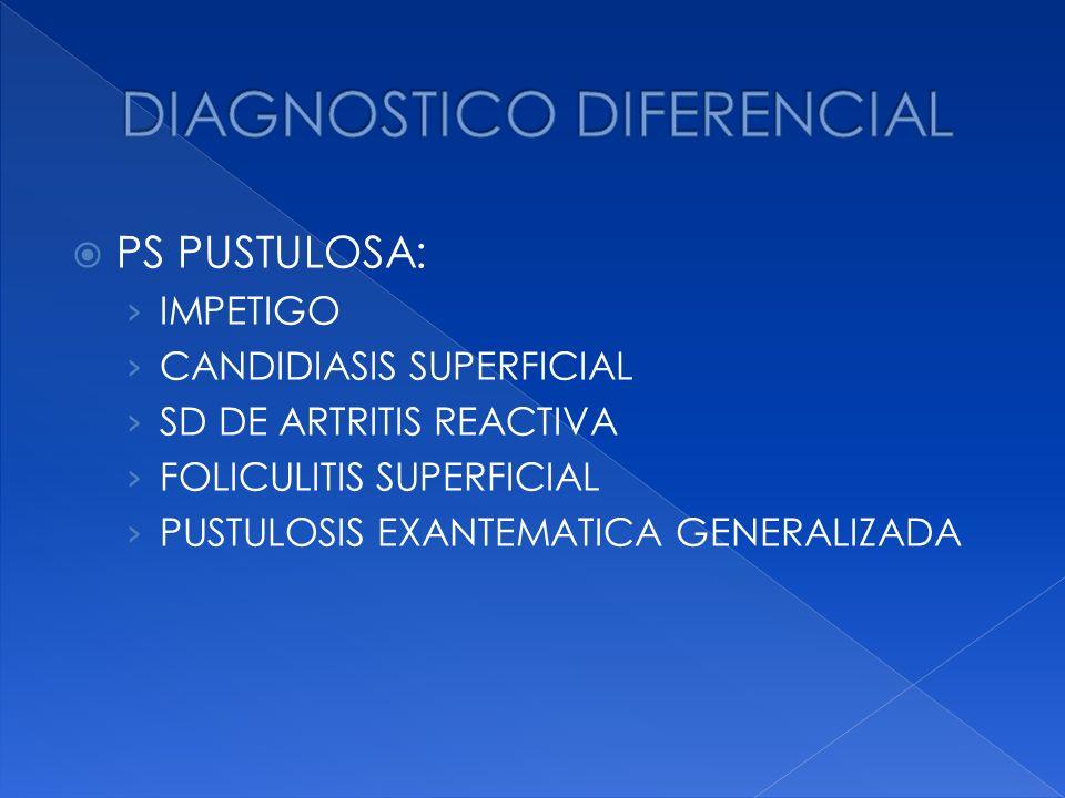 PS PUSTULOSA: IMPETIGO CANDIDIASIS SUPERFICIAL SD DE ARTRITIS REACTIVA FOLICULITIS SUPERFICIAL PUSTULOSIS EXANTEMATICA GENERALIZADA