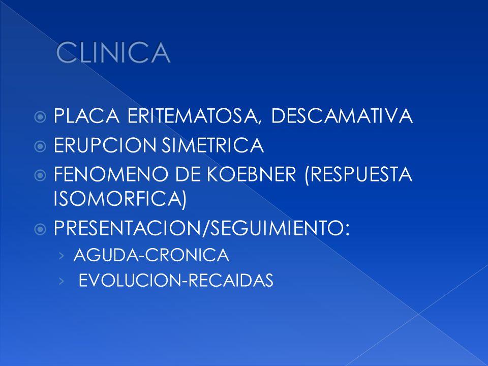 PLACA ERITEMATOSA, DESCAMATIVA ERUPCION SIMETRICA FENOMENO DE KOEBNER (RESPUESTA ISOMORFICA) PRESENTACION/SEGUIMIENTO: AGUDA-CRONICA EVOLUCION-RECAIDA