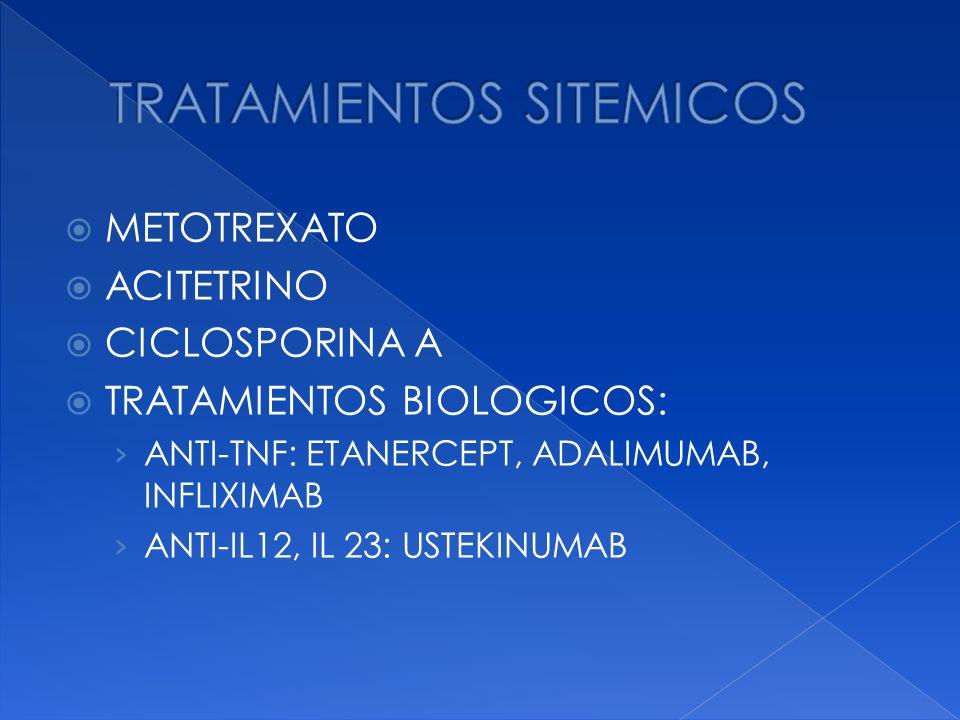 METOTREXATO ACITETRINO CICLOSPORINA A TRATAMIENTOS BIOLOGICOS: ANTI-TNF: ETANERCEPT, ADALIMUMAB, INFLIXIMAB ANTI-IL12, IL 23: USTEKINUMAB