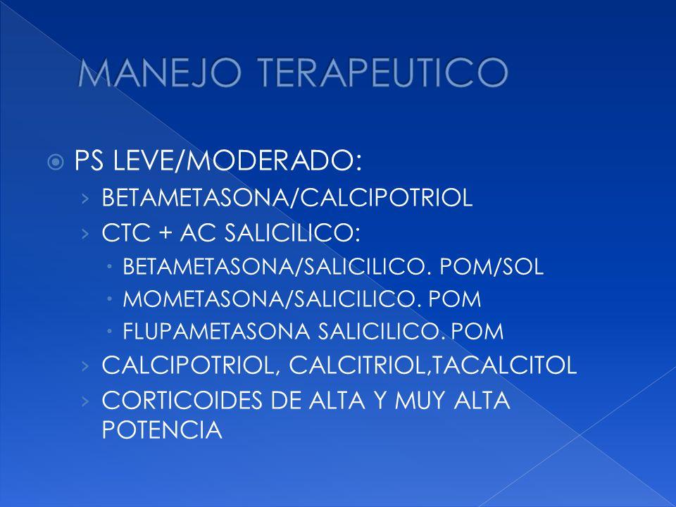 PS LEVE/MODERADO: BETAMETASONA/CALCIPOTRIOL CTC + AC SALICILICO: BETAMETASONA/SALICILICO. POM/SOL MOMETASONA/SALICILICO. POM FLUPAMETASONA SALICILICO.