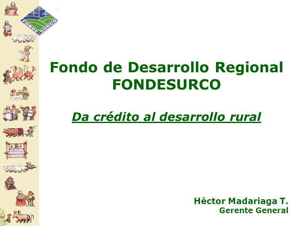 Fondo de Desarrollo Regional FONDESURCO Da crédito al desarrollo rural Héctor Madariaga T. Gerente General