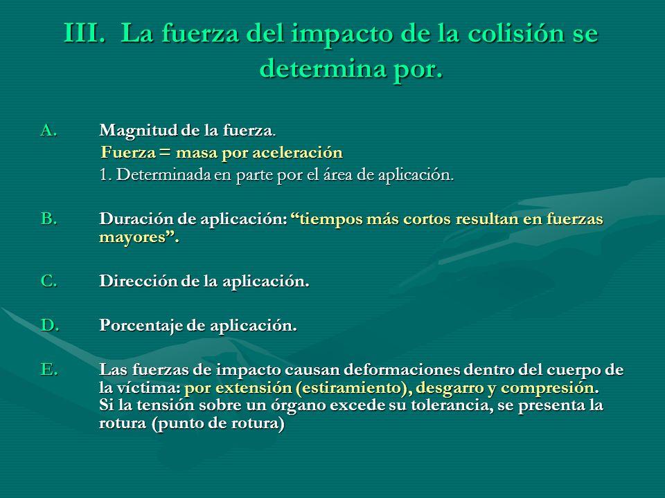 III. La fuerza del impacto de la colisión se determina por. A.Magnitud de la fuerza. Fuerza = masa por aceleración Fuerza = masa por aceleración 1. De