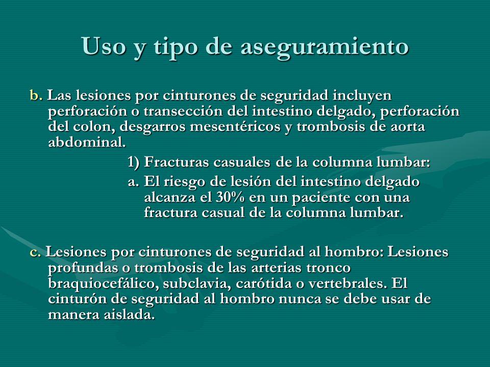 Uso y tipo de aseguramiento b. Las lesiones por cinturones de seguridad incluyen perforación o transección del intestino delgado, perforación del colo
