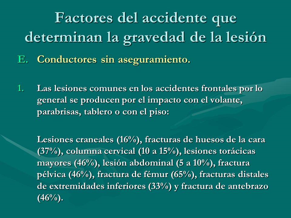 Factores del accidente que determinan la gravedad de la lesión E.Conductores sin aseguramiento. 1.Las lesiones comunes en los accidentes frontales por
