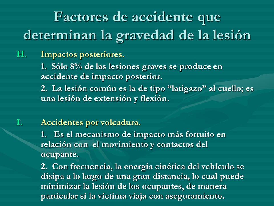 Factores de accidente que determinan la gravedad de la lesión H.Impactos posteriores. 1. Sólo 8% de las lesiones graves se produce en accidente de imp