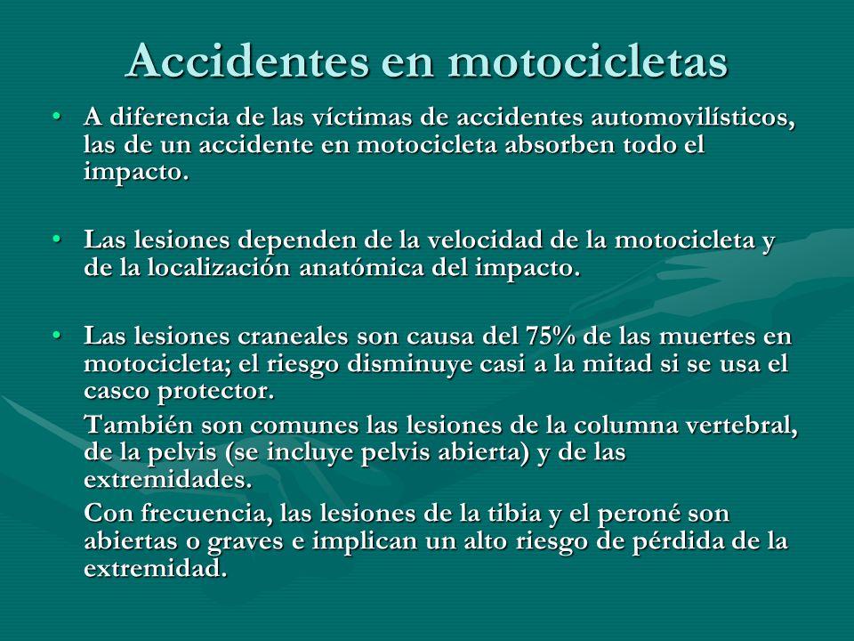 Accidentes en motocicletas A diferencia de las víctimas de accidentes automovilísticos, las de un accidente en motocicleta absorben todo el impacto.A