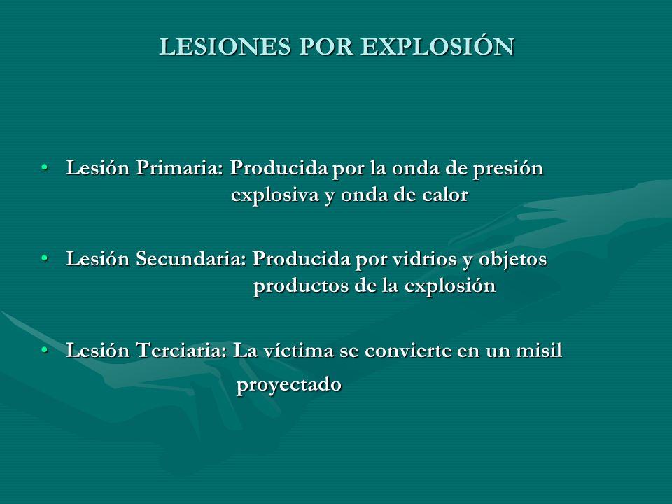 LESIONES POR EXPLOSIÓN Lesión Primaria: Producida por la onda de presión explosiva y onda de calorLesión Primaria: Producida por la onda de presión ex