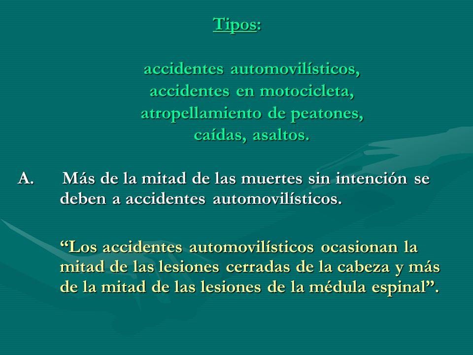Tipos: accidentes automovilísticos, accidentes en motocicleta, atropellamiento de peatones, caídas, asaltos. A. Más de la mitad de las muertes sin int