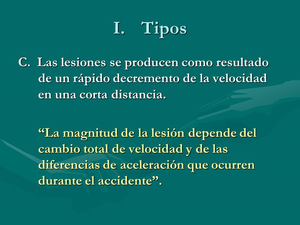 I.Tipos C. Las lesiones se producen como resultado de un rápido decremento de la velocidad en una corta distancia. La magnitud de la lesión depende de