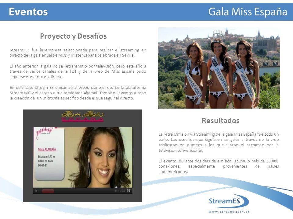 Proyecto y Desafíos La retransmisión vía Streaming de la gala Miss España fue todo un éxito.