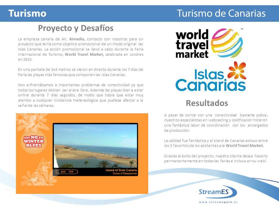 Proyecto y Desafíos Resultados La web especializada en información turística, Hosteltur.com ha contado en distintas ocasiones con los servicios de Stream ES para difundir a través de su web distintos eventos.