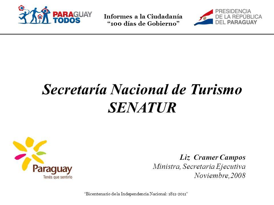 Informes a la Ciudadanía 100 días de Gobierno Bicentenario de la Independencia Nacional: 1811-2011 Secretaría Nacional de Turismo SENATUR Liz Cramer C
