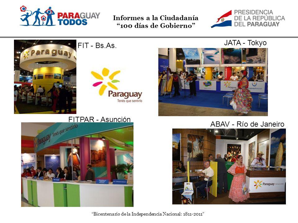 Informes a la Ciudadanía 100 días de Gobierno Bicentenario de la Independencia Nacional: 1811-2011 ABAV - Río de Janeiro FITPAR - Asunción JATA - Toky