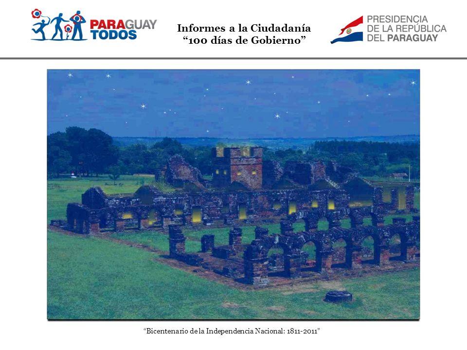 Informes a la Ciudadanía 100 días de Gobierno Bicentenario de la Independencia Nacional: 1811-2011