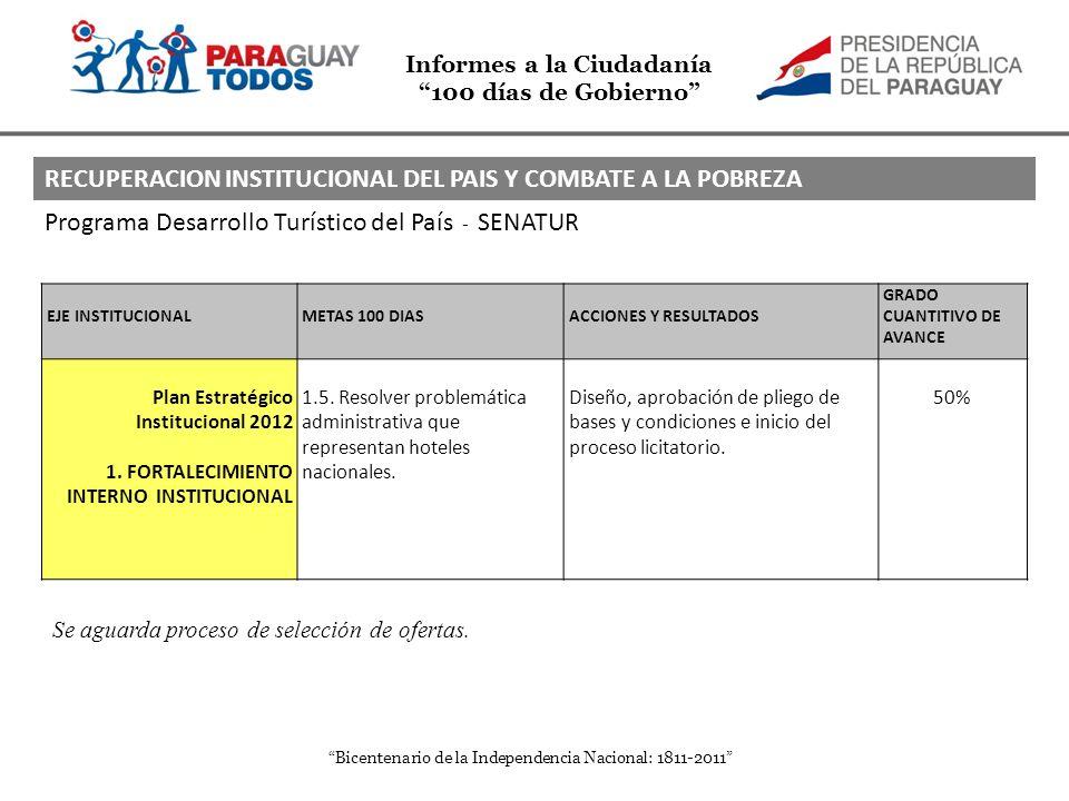 Informes a la Ciudadanía 100 días de Gobierno Bicentenario de la Independencia Nacional: 1811-2011 Programa Desarrollo Turístico del País - SENATUR EJ