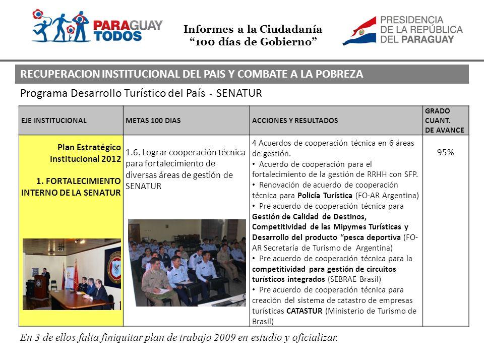 Informes a la Ciudadanía 100 días de Gobierno Programa Desarrollo Turístico del País - SENATUR EJE INSTITUCIONALMETAS 100 DIASACCIONES Y RESULTADOS GRADO CUANT.