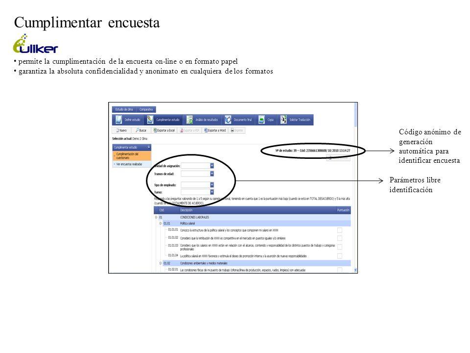 permite la cumplimentación de la encuesta on-line o en formato papel garantiza la absoluta confidencialidad y anonimato en cualquiera de los formatos