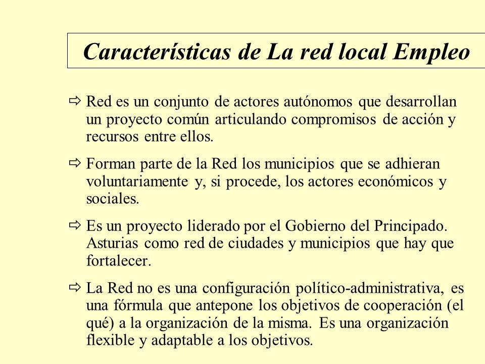 Características de La red local Empleo Red es un conjunto de actores autónomos que desarrollan un proyecto común articulando compromisos de acción y recursos entre ellos.