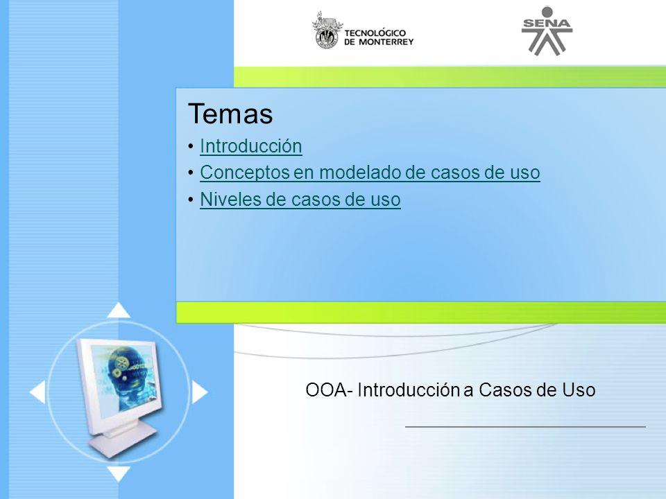 Administración de Proyectos de desarrollo de Software Ciclo de vida de un proyecto Enfoque moderno Temas Introducción Conceptos en modelado de casos d