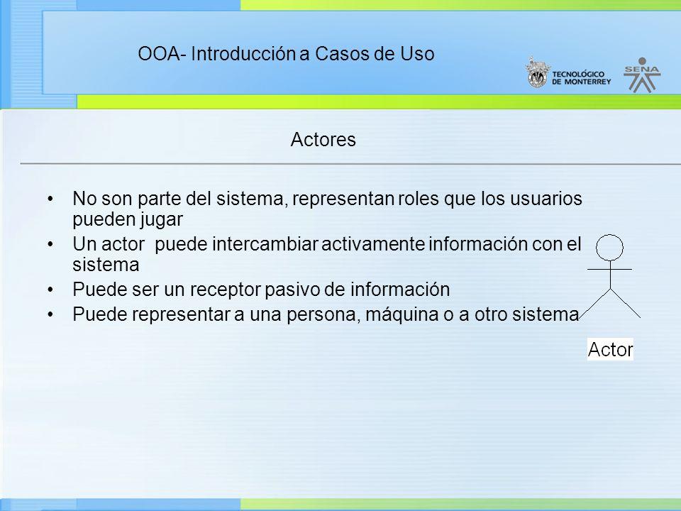 OOA- Introducción a Casos de Uso Actores No son parte del sistema, representan roles que los usuarios pueden jugar Un actor puede intercambiar activam