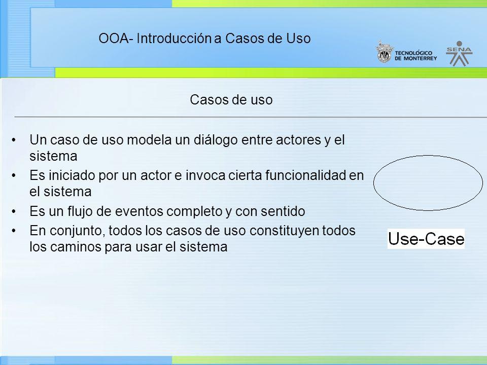 OOA- Introducción a Casos de Uso Casos de uso Un caso de uso modela un diálogo entre actores y el sistema Es iniciado por un actor e invoca cierta fun