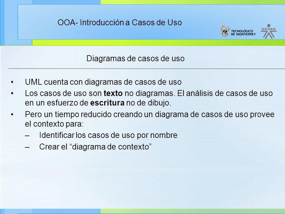 OOA- Introducción a Casos de Uso Diagramas de casos de uso UML cuenta con diagramas de casos de uso Los casos de uso son texto no diagramas. El anális