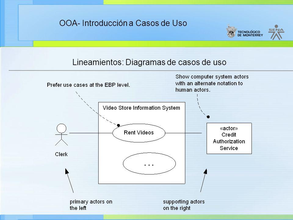 OOA- Introducción a Casos de Uso Lineamientos: Diagramas de casos de uso