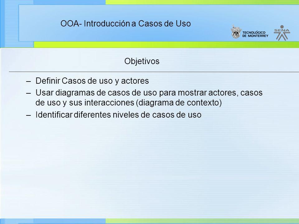 Objetivos –Definir Casos de uso y actores –Usar diagramas de casos de uso para mostrar actores, casos de uso y sus interacciones (diagrama de contexto