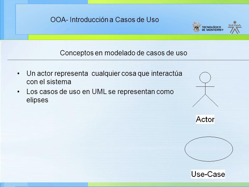 OOA- Introducción a Casos de Uso Conceptos en modelado de casos de uso Un actor representa cualquier cosa que interactúa con el sistema Los casos de u