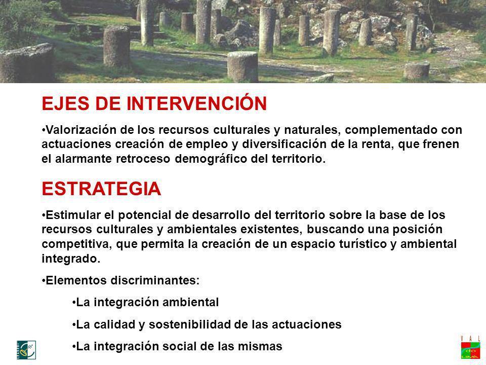 EJES DE INTERVENCIÓN Valorización de los recursos culturales y naturales, complementado con actuaciones creación de empleo y diversificación de la ren
