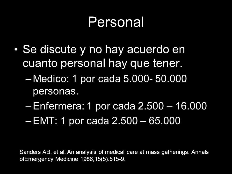 Personal Se discute y no hay acuerdo en cuanto personal hay que tener. –Medico: 1 por cada 5.000- 50.000 personas. –Enfermera: 1 por cada 2.500 – 16.0