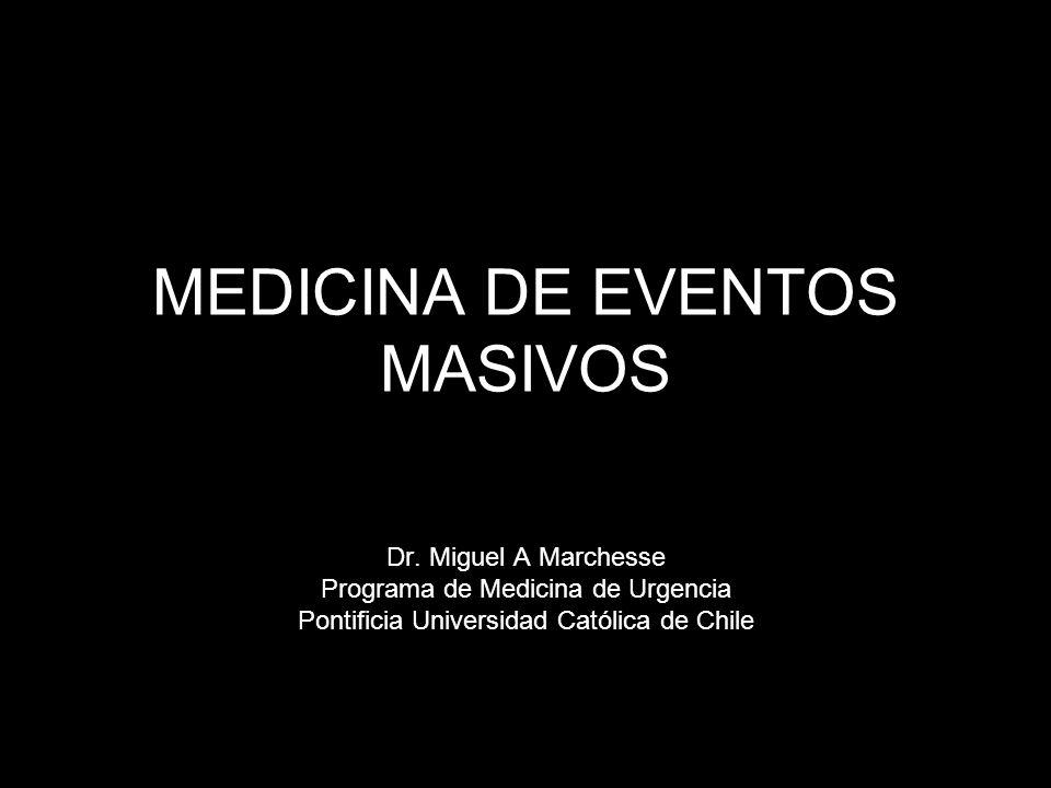 MEDICINA DE EVENTOS MASIVOS Dr. Miguel A Marchesse Programa de Medicina de Urgencia Pontificia Universidad Católica de Chile
