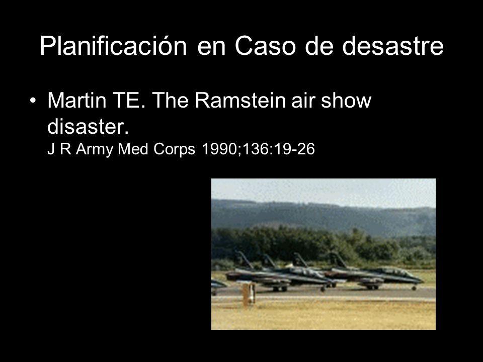 Planificación en Caso de desastre Martin TE. The Ramstein air show disaster. J R Army Med Corps 1990;136:19-26