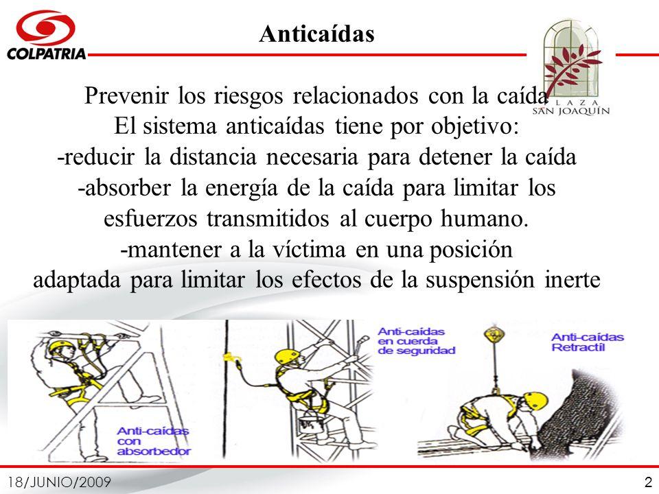 18/JUNIO/2009 2 Anticaídas Prevenir los riesgos relacionados con la caída El sistema anticaídas tiene por objetivo: -reducir la distancia necesaria pa
