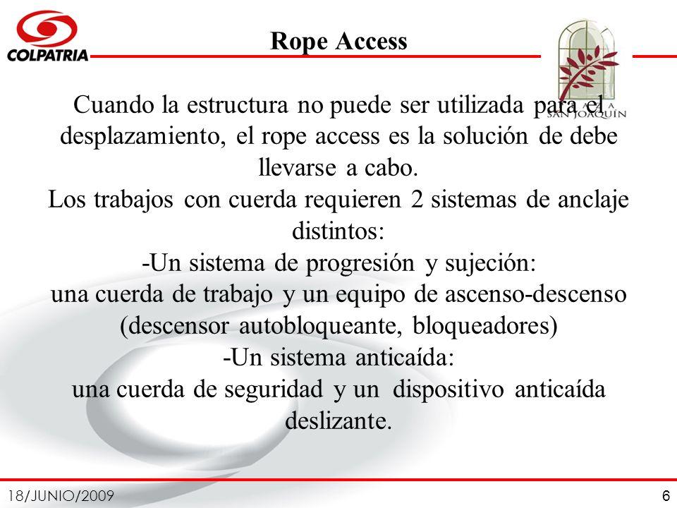 18/JUNIO/2009 6 Rope Access Cuando la estructura no puede ser utilizada para el desplazamiento, el rope access es la solución de debe llevarse a cabo.