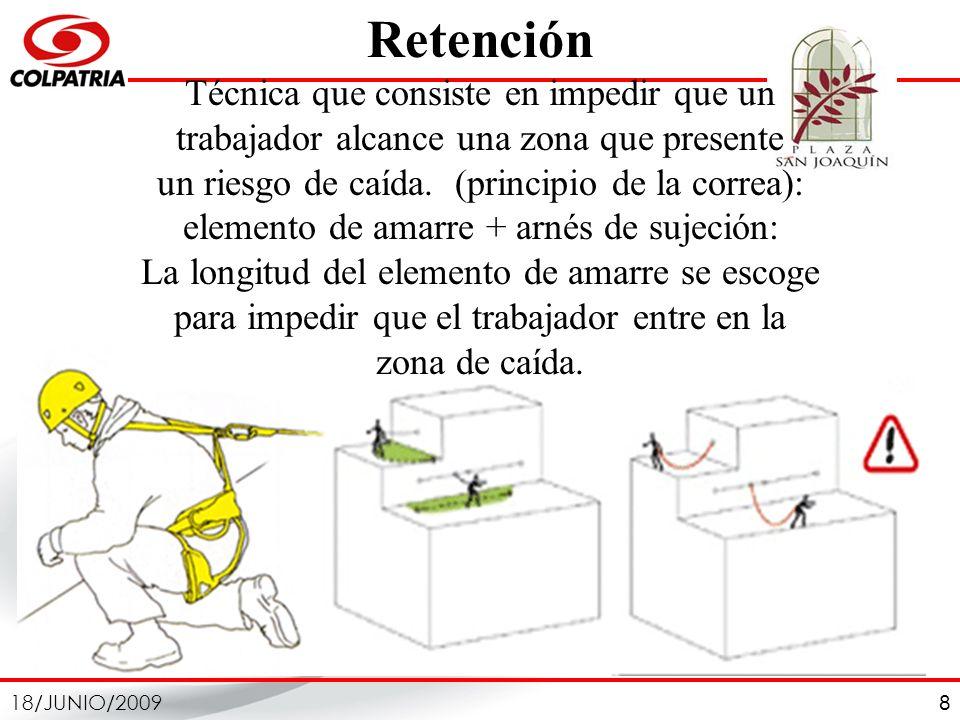 8 Retención Técnica que consiste en impedir que un trabajador alcance una zona que presente un riesgo de caída. (principio de la correa): elemento de