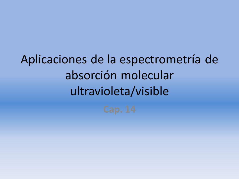 Aplicaciones de la espectrometría de absorción molecular ultravioleta/visible Cap. 14