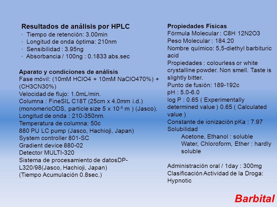 Resultados de análisis por HPLC · Tiempo de retención: 3.00min · Longitud de onda óptima: 210nm · Sensibilidad : 3.95ng · Absorbancia / 100ng : 0.1833