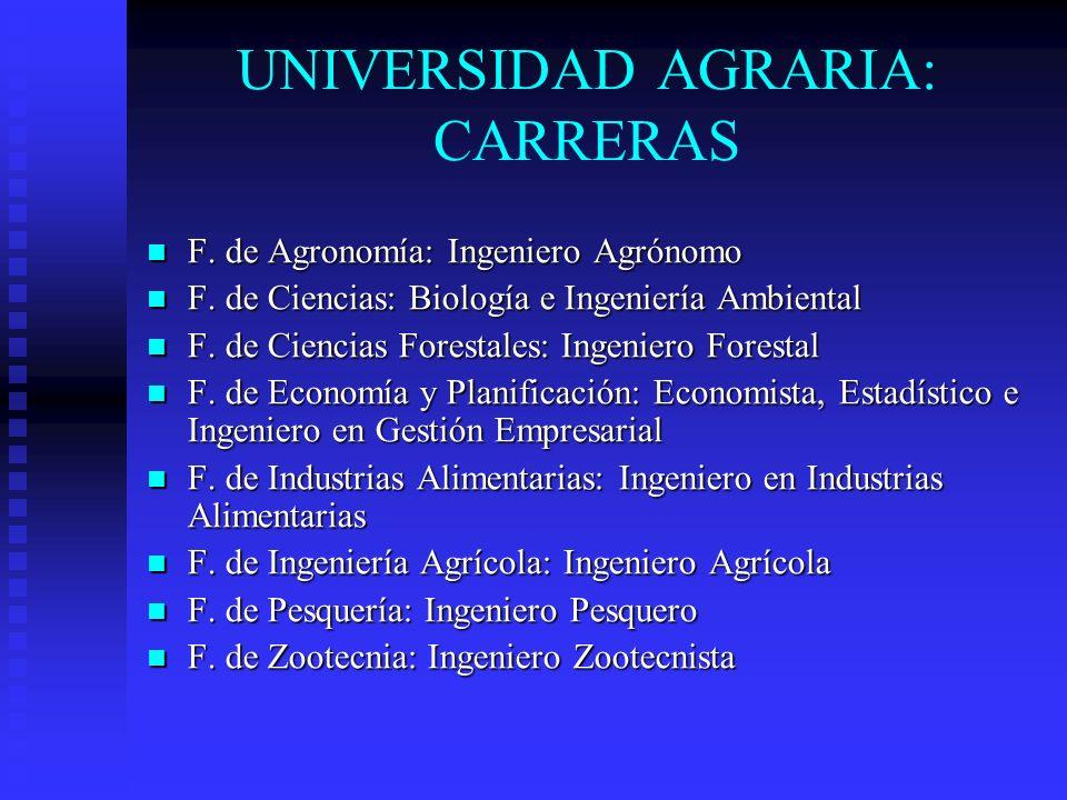 UNIVERSIDAD AGRARIA: CARRERAS F. de Agronomía: Ingeniero Agrónomo F. de Agronomía: Ingeniero Agrónomo F. de Ciencias: Biología e Ingeniería Ambiental