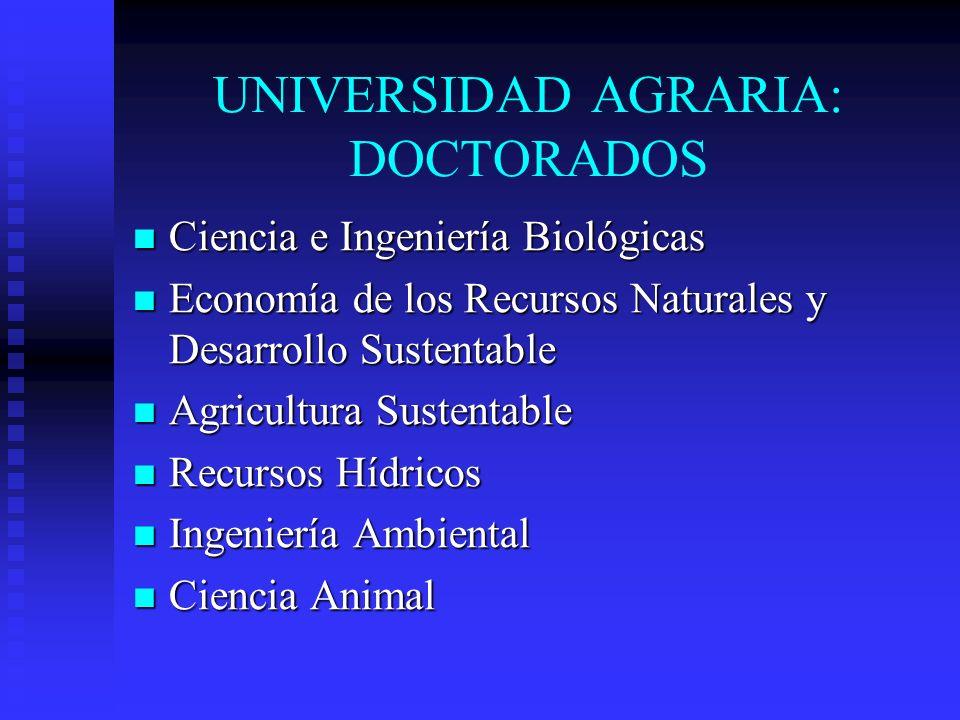 UNIVERSIDAD AGRARIA: DOCTORADOS Ciencia e Ingeniería Biológicas Ciencia e Ingeniería Biológicas Economía de los Recursos Naturales y Desarrollo Susten