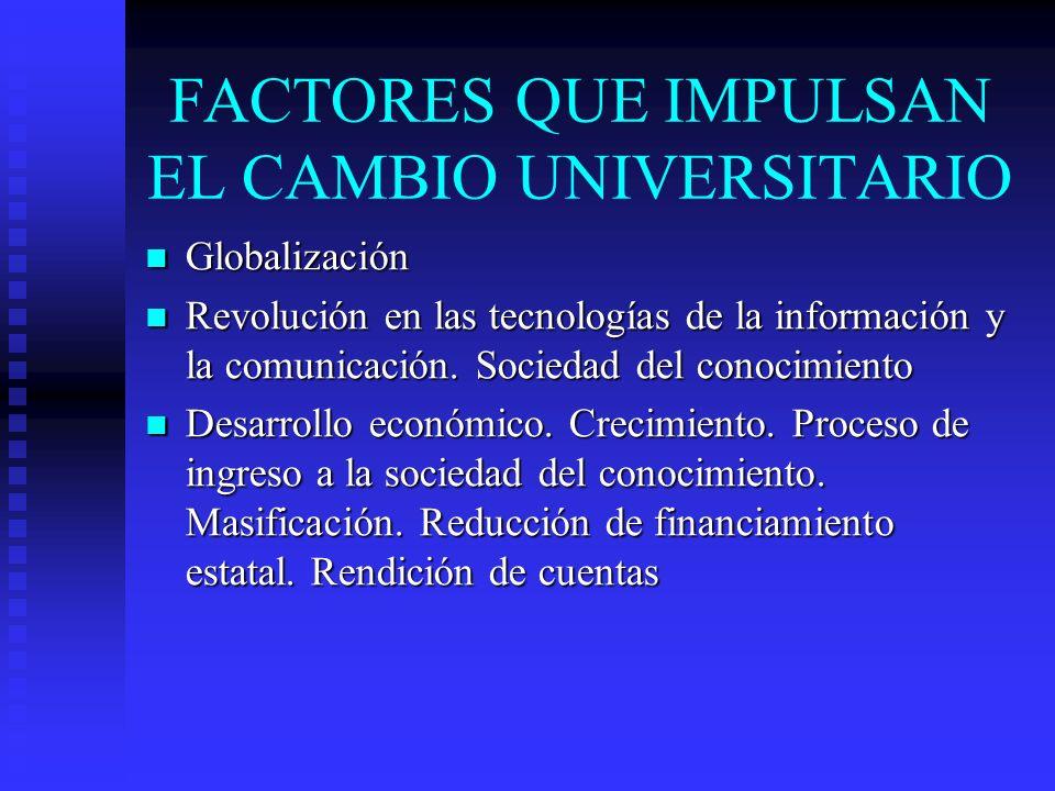 FACTORES QUE IMPULSAN EL CAMBIO UNIVERSITARIO Globalización Globalización Revolución en las tecnologías de la información y la comunicación. Sociedad