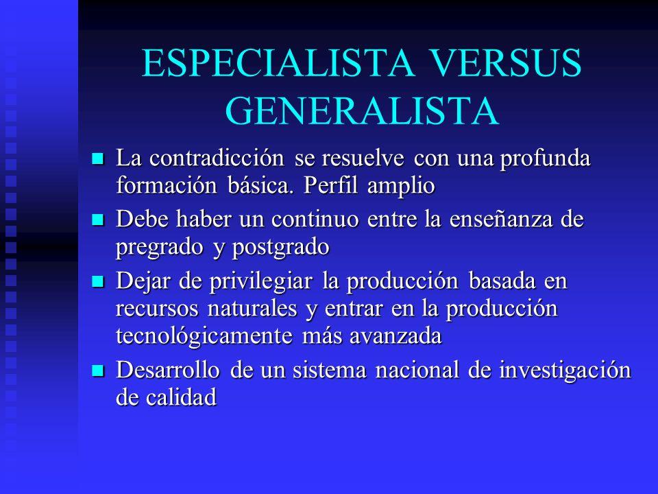ESPECIALISTA VERSUS GENERALISTA La contradicción se resuelve con una profunda formación básica. Perfil amplio La contradicción se resuelve con una pro