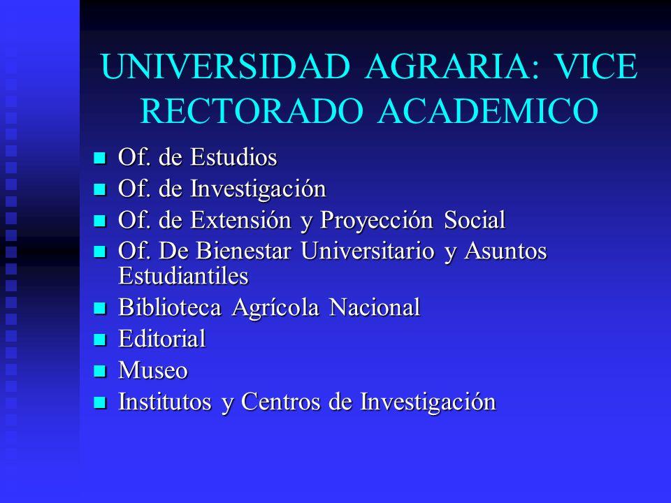 UNIVERSIDAD AGRARIA: VICE RECTORADO ACADEMICO Of. de Estudios Of. de Estudios Of. de Investigación Of. de Investigación Of. de Extensión y Proyección