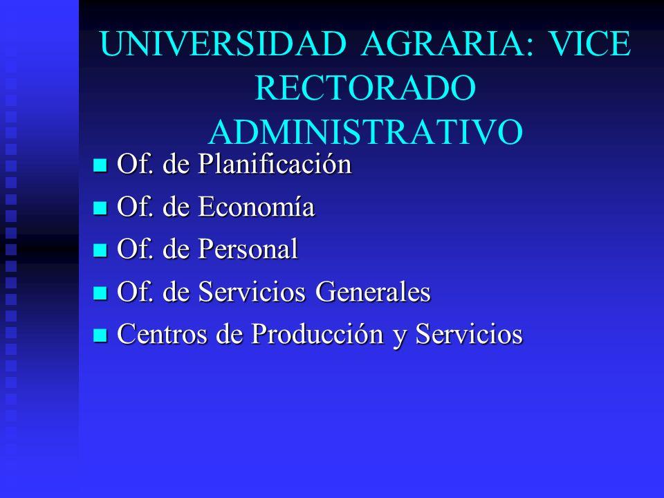 UNIVERSIDAD AGRARIA: VICE RECTORADO ADMINISTRATIVO Of. de Planificación Of. de Planificación Of. de Economía Of. de Economía Of. de Personal Of. de Pe
