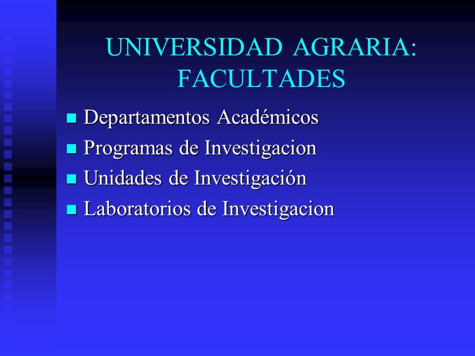 UNIVERSIDAD AGRARIA: FACULTADES Departamentos Académicos Departamentos Académicos Programas de Investigacion Programas de Investigacion Unidades de In