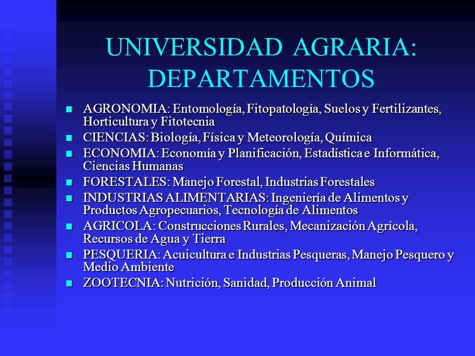 UNIVERSIDAD AGRARIA: DEPARTAMENTOS AGRONOMIA: Entomología, Fitopatología, Suelos y Fertilizantes, Horticultura y Fitotecnia AGRONOMIA: Entomología, Fi