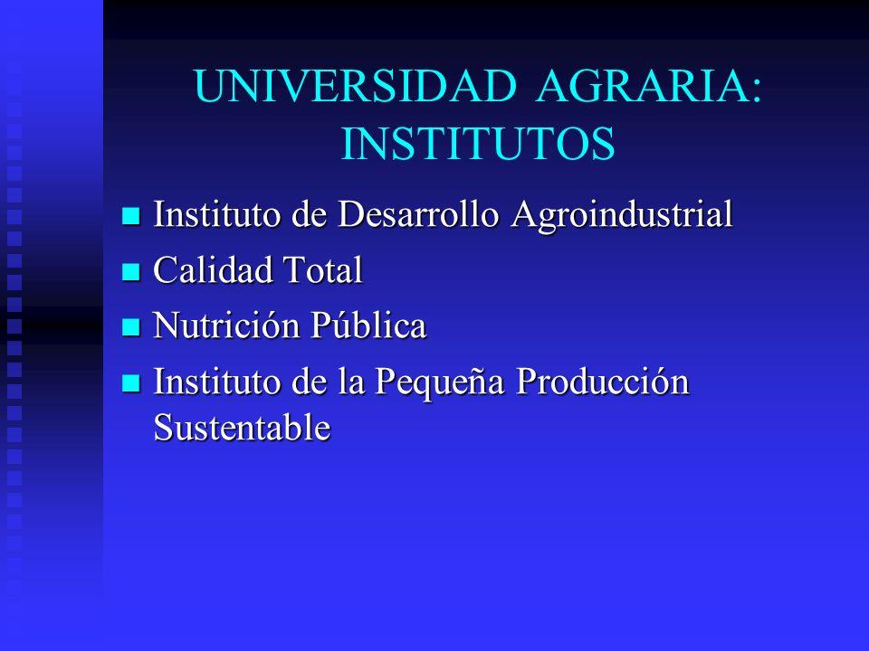 UNIVERSIDAD AGRARIA: INSTITUTOS Instituto de Desarrollo Agroindustrial Instituto de Desarrollo Agroindustrial Calidad Total Calidad Total Nutrición Pú