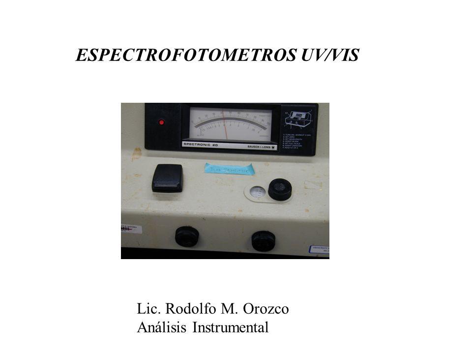 Espectrofotómetros * Los espectrofotómetros son aquellos instrumentos en los que se mide fundamentalmente la distribución espectral de energía radiante en las regiones espectrales: UV, VIS e IR (cercano hasta el medio) * Estos instrumentos utilizan un complejo sistema óptico de selección de longitud de onda (monocromador).