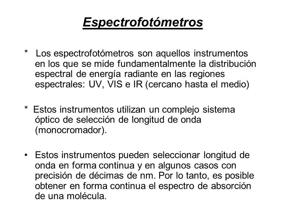 Espectrofotómetros * Los espectrofotómetros son aquellos instrumentos en los que se mide fundamentalmente la distribución espectral de energía radiant