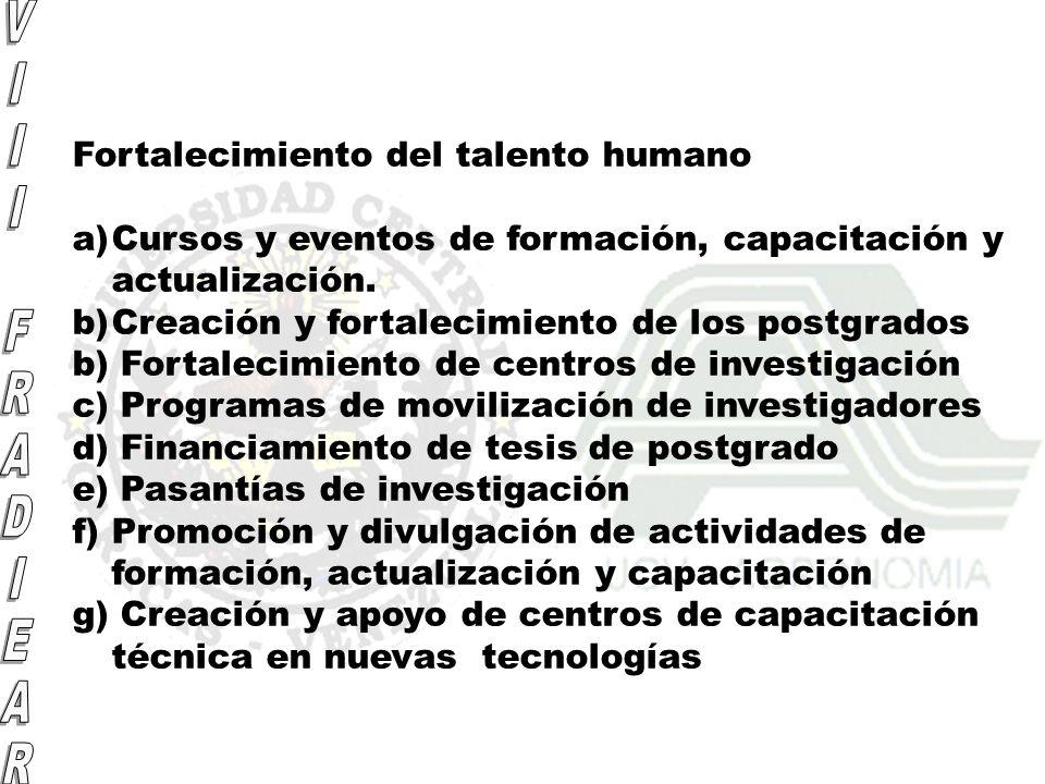 Fortalecimiento del talento humano a)Cursos y eventos de formación, capacitación y actualización. b)Creación y fortalecimiento de los postgrados b) Fo